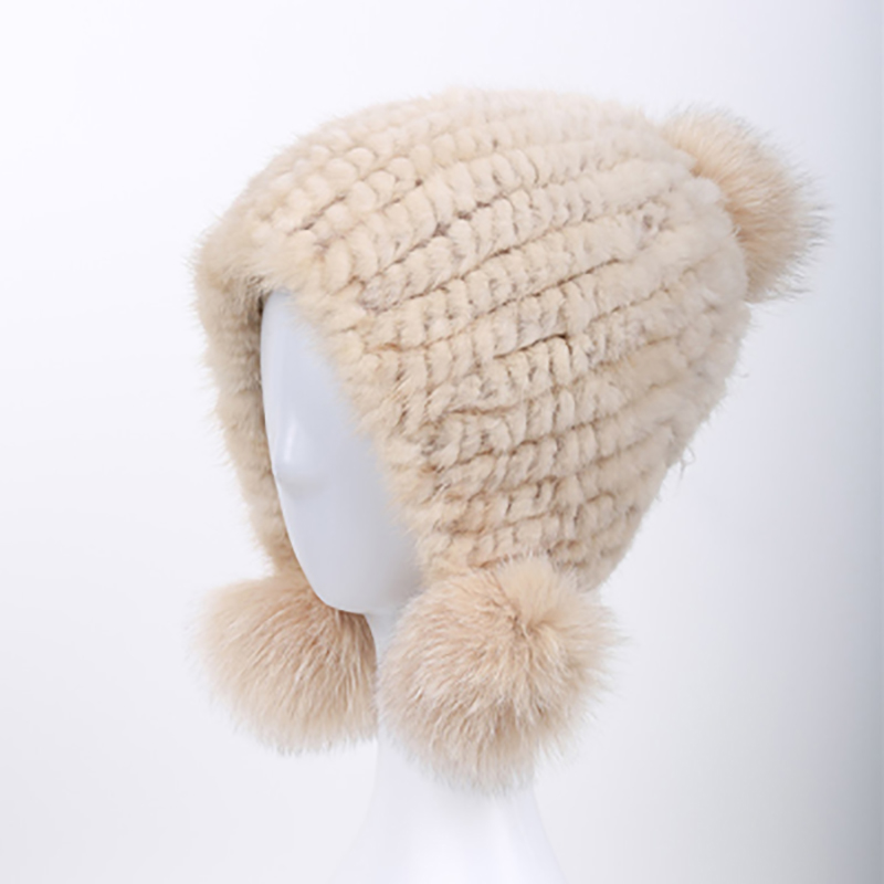 JKP 2018 New fashion free shipping autumn and winter warm real mink hat cute children's Cartoon hat with pompom ball HT-03
