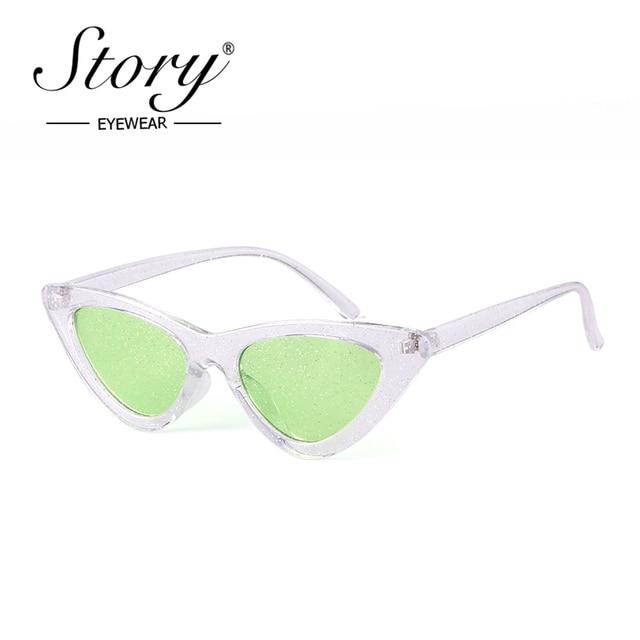 2ba5b1db1d STORY 2018 Fashion Crystal Cat Eye Sunglasses Women Men Vintage Retro  Glitter Lens Sun Glasses Cateye