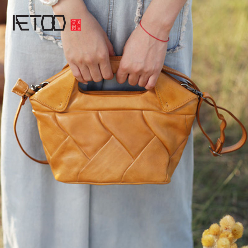 AETOO Original retro ethnic style stitching dumplings package handmade leather casual handbags leather handbag shoulder diagonal все цены