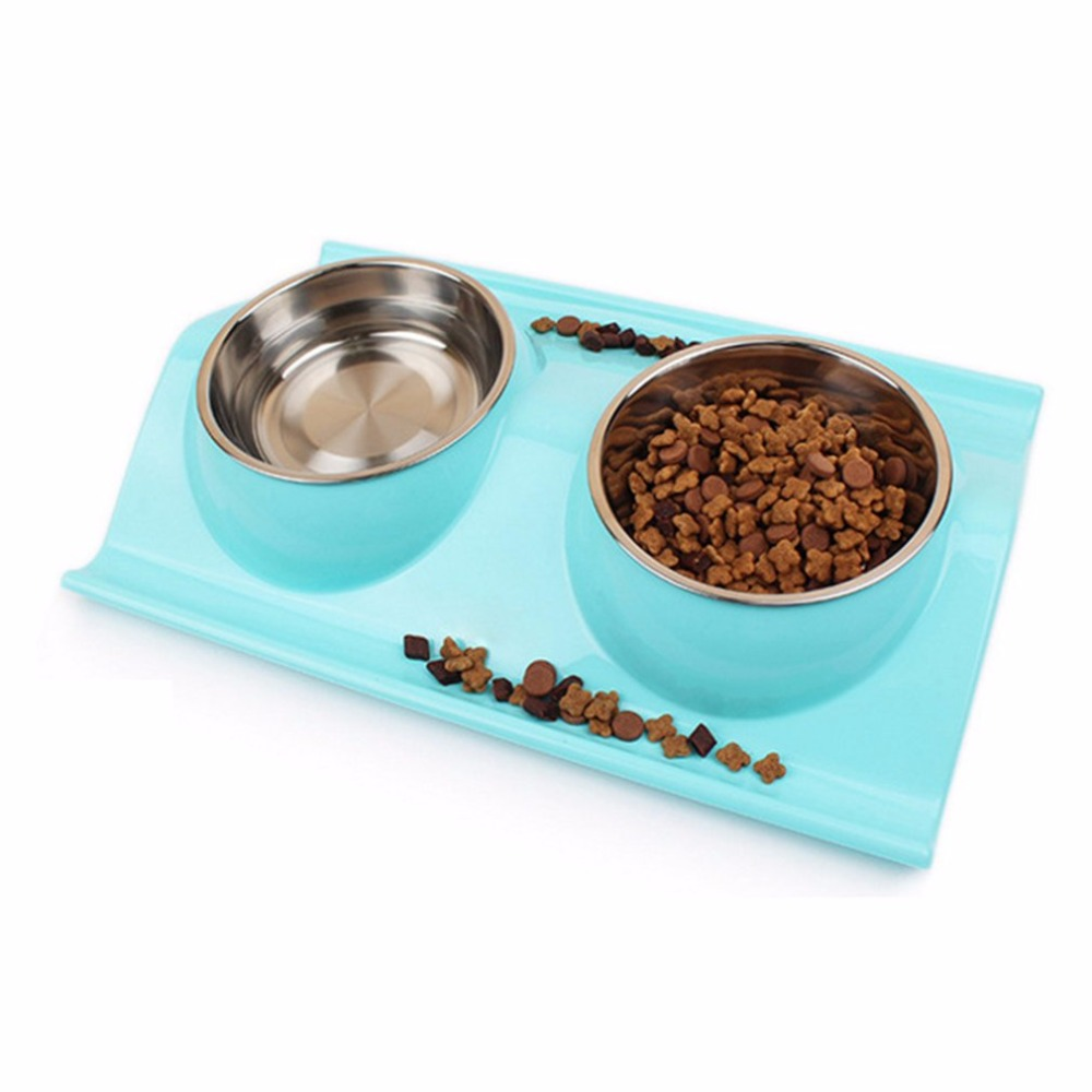 Leak-proof Double Side Stainless Steel Plastic Dog Bowl Feeds