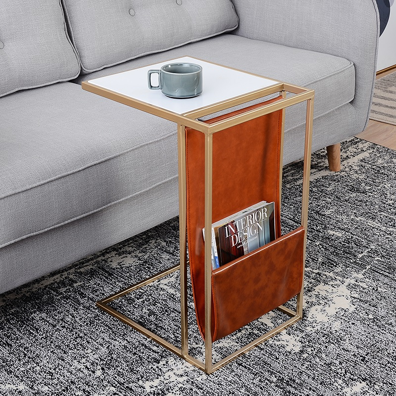 Sweden Design 53cm High Coffee Table with Metal Frame / Leather Wrap of Books Storage
