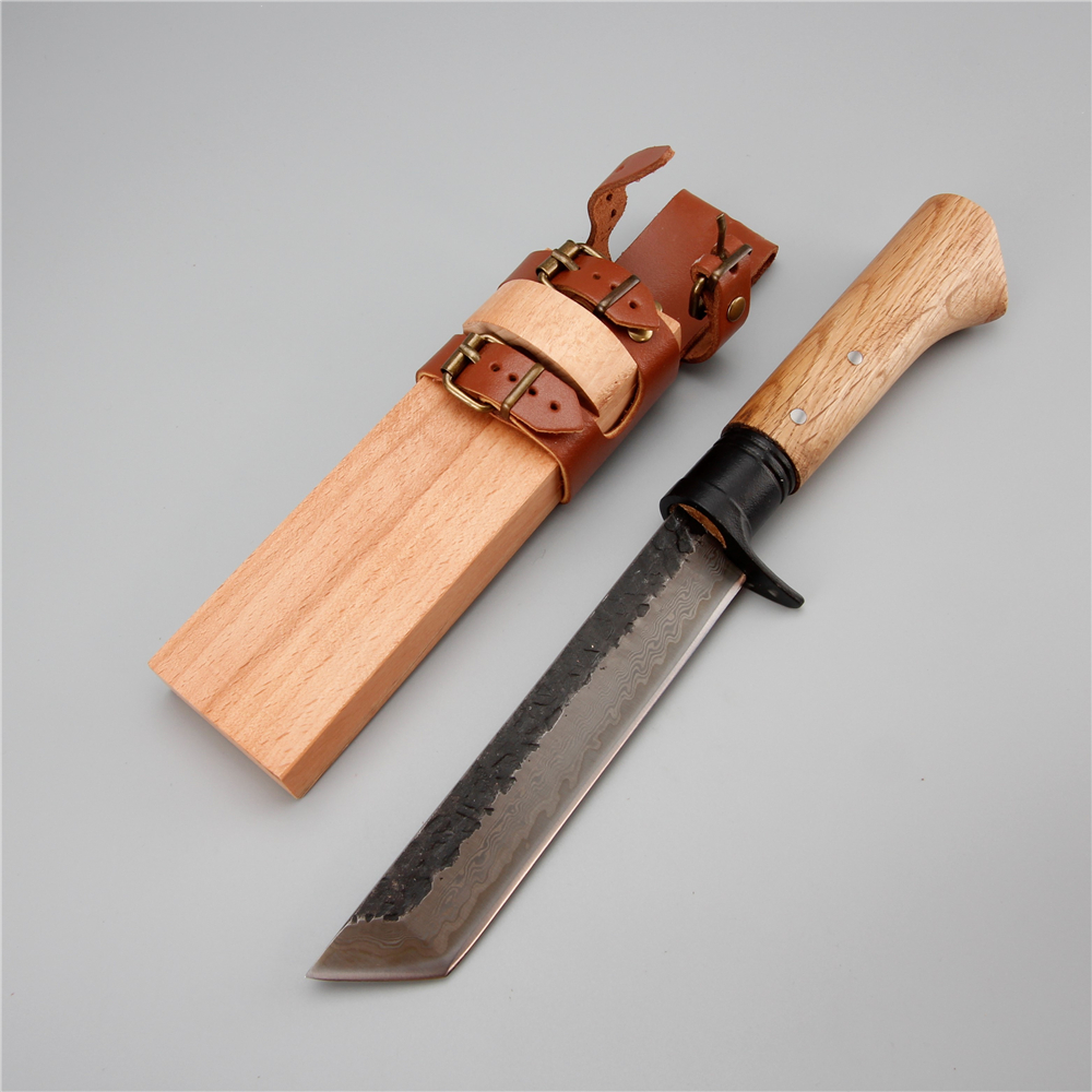 Damascus steel hunting knife wood handle wood sheath can wear outdoor forest machete carpentry camping survival lightweigh knife цена