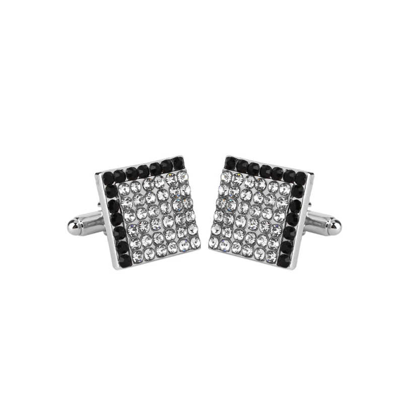 White and black Full Rhinestone metal Cuff Links Square L letter Cufflinks For men French Shirt Accessoires Cuflink for wedding