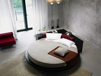 Italy Design Genuine Leahter With Large Cabinet Set Top Luxury Exact Large Size Round Bed Villa