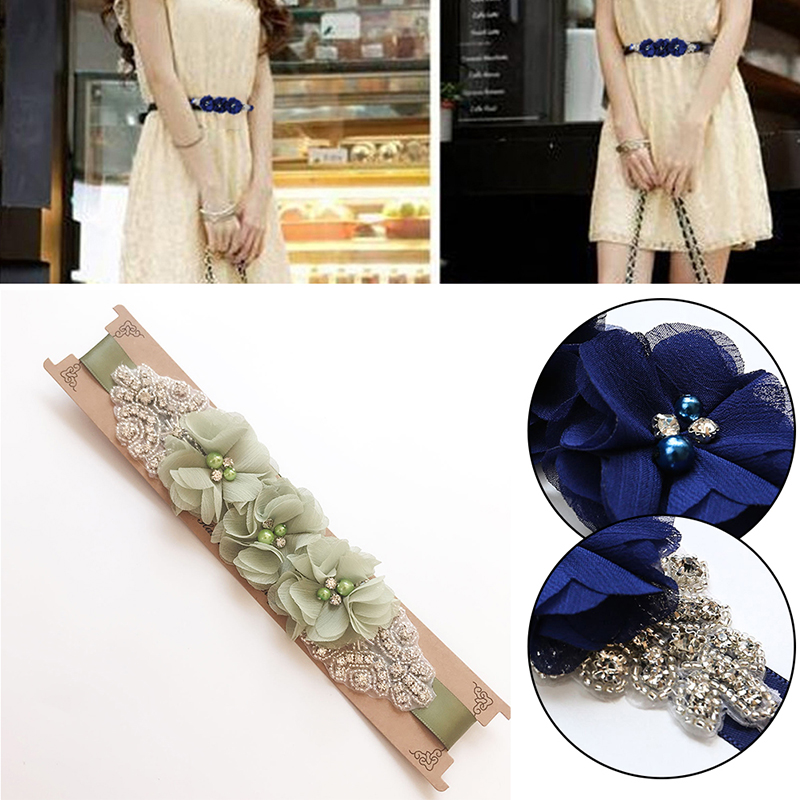 2019 New Fashion Beauty Flower Bridal Sash Rhinestone Wedding Party Bride Bridesmaid Belt Dress Streamer Girdle Waistbands Femme