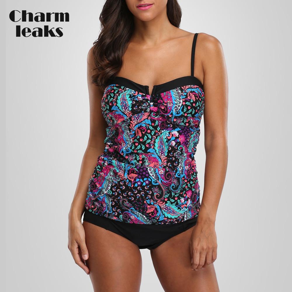 Charmleaks Tankini Set Women Swimwear Vintage Floral Print Swimsuit Padded Swimwear Bathing Suit Beach Wear Bikini