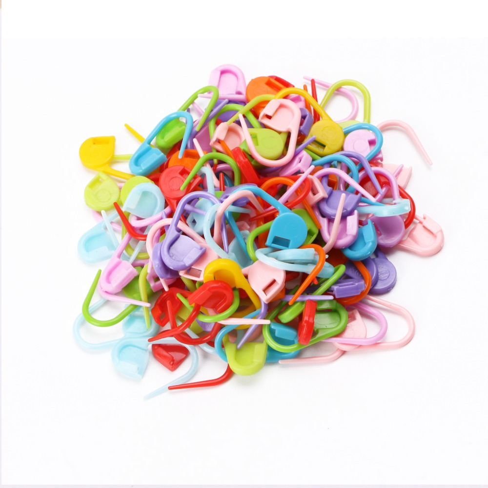 100* HIGH quality Plastic Markers Holder Needle Clip Craft Mix Mini Knitting Crochet Locking Stitch Accessories for Sewing