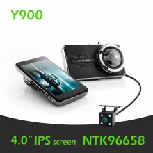 Y900 BlackView Novatek 96658 Lente Dual Tablero de Coches Cam 4.0 pulgadas IPS FHD 1080 P Grabador de Vídeo g-sensor panel Cámara BlackBox