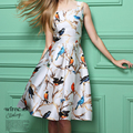 2016 Spring Dress Retro Round Neck Birds Printing Sleeveless Women Dress Sexy Party Dresses vestidos Plus Size Bottoming Dress