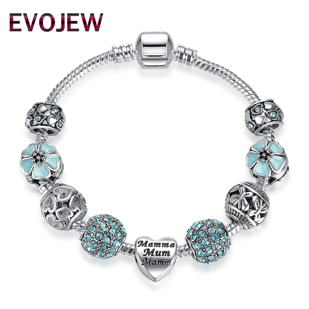 Authentic 925 Vintage Silver Gift Charm With Blue Daisy Crystal Beads Bracelet For Mother Luxury DIY Fashion Jewelry