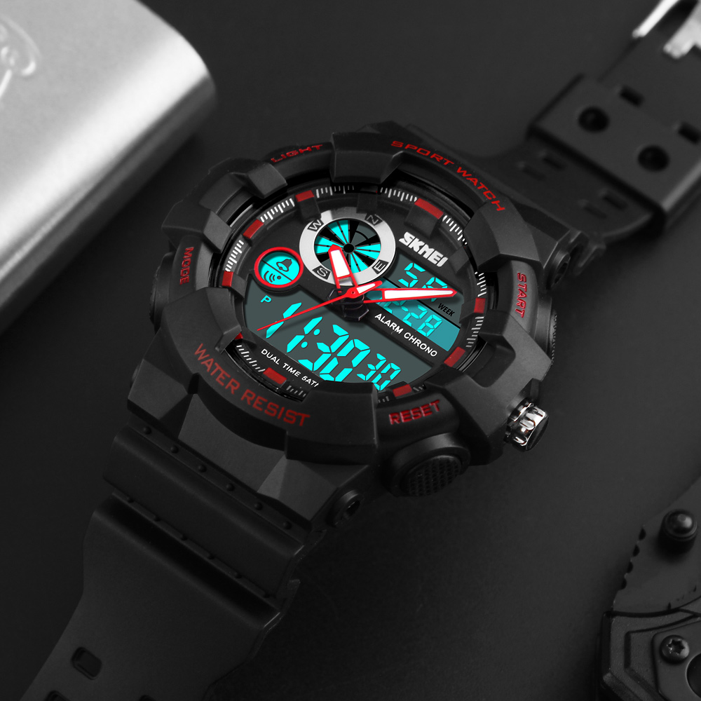 <font><b>SKMEI</b></font> Electronic Wristwatches Men Sports Watches Digital LED Double Time Chronograph Men Watch Watwrproof Relogio Masculino 1312 image