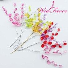 15 см 50 шт. декоративный искусственный акриловые капли Цветок провода стебли кристалл со стразами цветок ветви шарик спреи для свадьбы