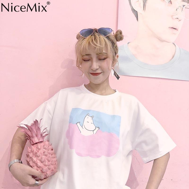 NiceMix Kawaii T Shirt 2019 Summer Women Tops Harajuku T shirts Print Chinese Letters Short Sleeve Pink Tee Shirt Femme 23029 in T Shirts from Women 39 s Clothing