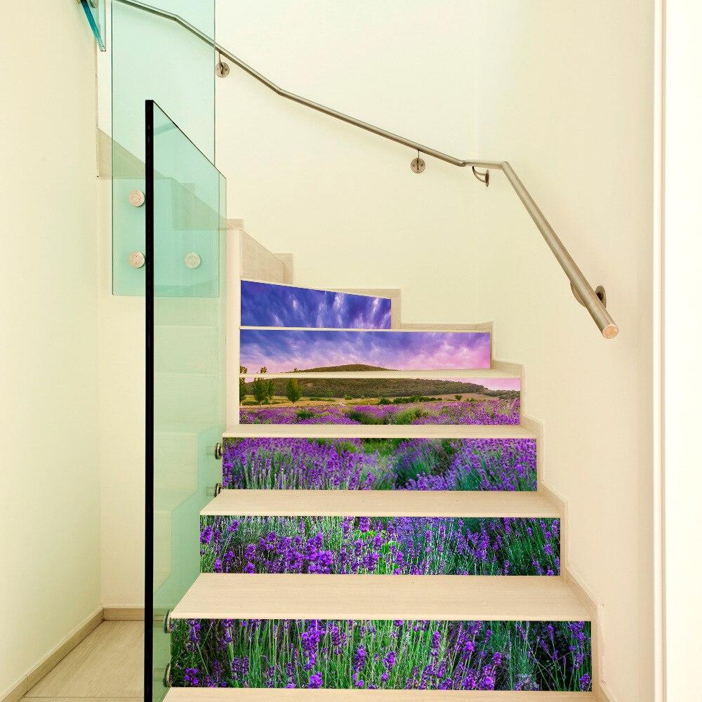 Креативные 3D Лавандовые декоративные Стикеры для лестницы смешной цветок искусство настенные наклейки для гостиной спальни домашний деко