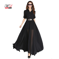 2017 Fitaylor Summer Women Black And White Chiffon Maxi Dress Elegant Casual Brief Half Sleeve Large
