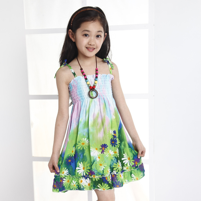 66cf6962b3a9 girl dress + Necklace 2015 Summer New Pretty Flower bohemian Green baby  girls dress kids clothes Chinese traditional style dress-in Dresses from  Mother ...