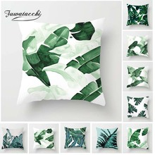 Fuwatacchi Tropical Plant Cushion Cover Palm Leaf Pillow Green Throw Decorative Pillowcase for Home Sofa