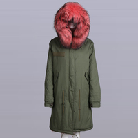 Coral silk fur hooded coat unisex long style winter coat fur coat plus size