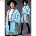 New Long Batwing Sleeve Cashmere Knitting Cardigans Shawl Fashion Tassel Cape Both Side to WearSweater Coat Outfit