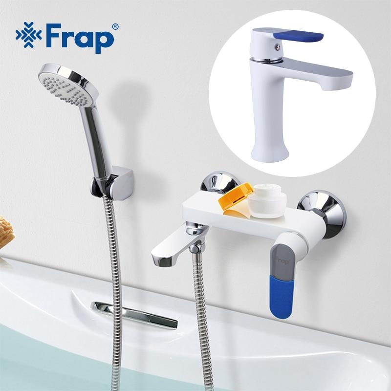 FRAP 1set bathroom fixture waterfall bath shower faucets with Basin Faucet  tap set bathtub rain shower faucet mixer f1034+f3234 gappo bathtub faucet bathroom shower faucet mixer abs rain shower head wall bath shower faucets set waterfall wall shower tap