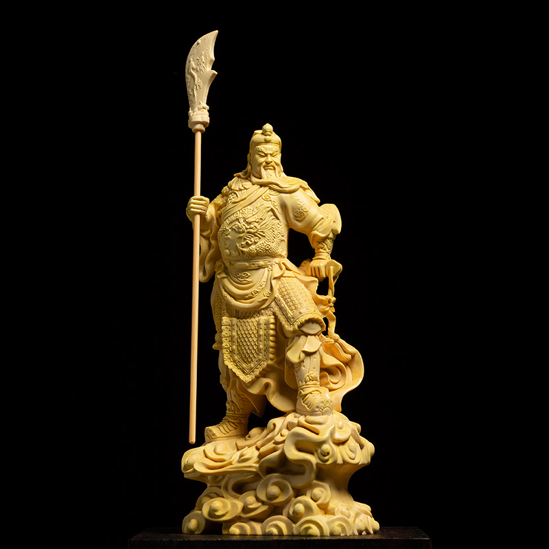 Solid Wooden Guan Yu Lucky Fortune Statue