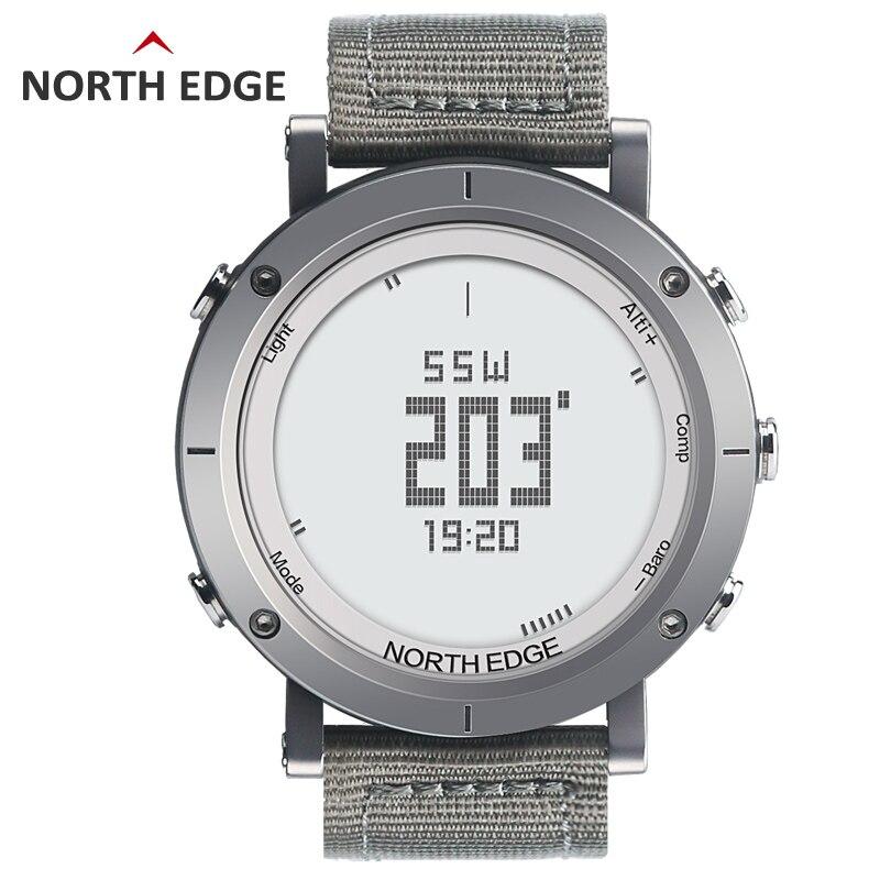 NORTH EDGE hommes montre de sport altimètre baromètre thermomètre boussole moniteur de fréquence cardiaque podomètre numérique course montre d'escalade - 4