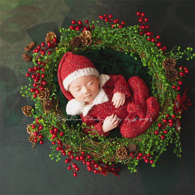 Christmas long sleeved jumpsuit and Santa hat set Knitted Crochet Mohair Baby girl Romper and bonnet set Photography props