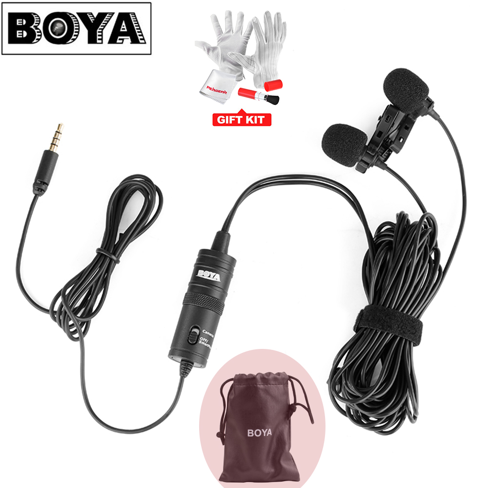 BOYA BY-M1DM 6m Cable Dual-Head Lavalier Lapel Clip-on Microphone for DSLR Canon Nikon iPhone Camcorders Recording VS BY-M1 fit ag 125 902