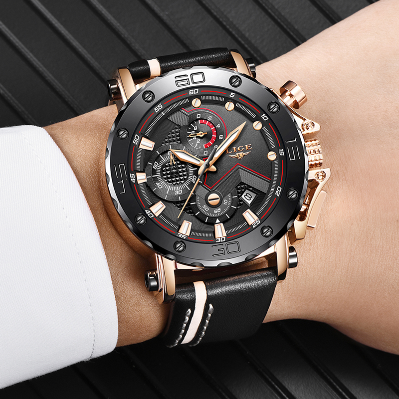 New LIGE Men Watches Fashion Chronograph Male Sport Watch Men Quartz Clock Casual Leather Waterproof Watch