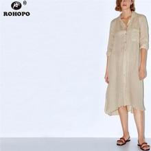 цена ROHOPO Women Long Sleeve Linen Cotton Straight Dress Single Breast Round Edged Midi Khaki Dress Autumn Vintage Vestido #AZ9407