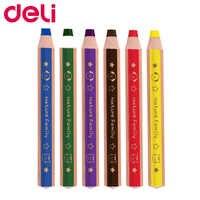 Deli 6/12 pièces crayon de couleur tige épaisse étudiant dessin ensemble de crayons papeterie enfants crayon crayons école bureau art fournitures