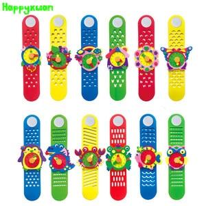 Happyxuan 12 تصاميم DIY 3D إيفا رغوة الحرفية ملصقا اليدوية ووتش ساعة التعلم الاطفال رياض الأطفال Educative ألعاب جديد لعب 2019