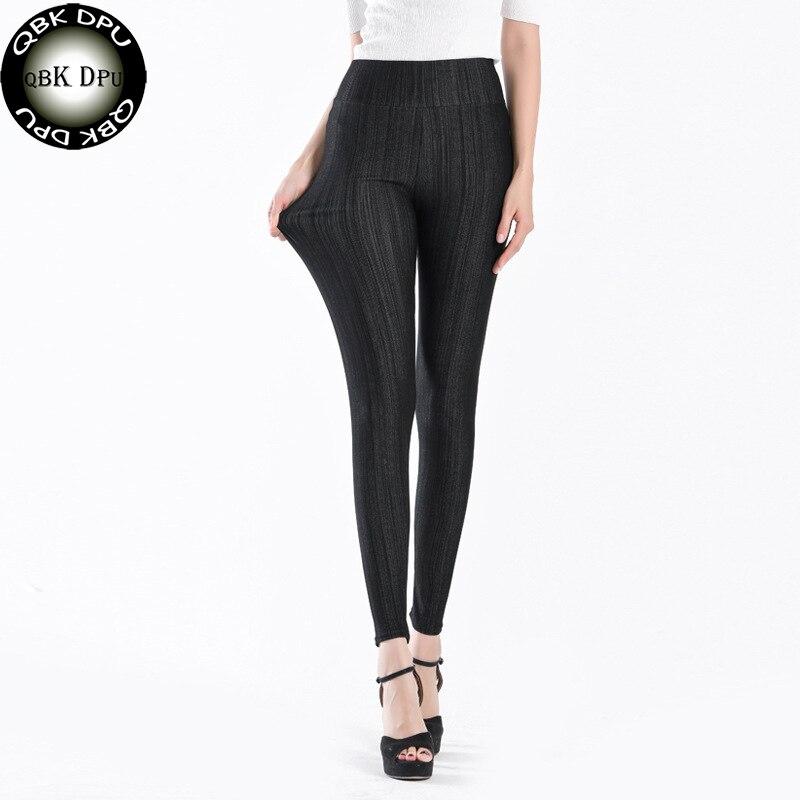 4911916cfb91 Acheter Mode Taille Haute Bande de Faux Jeans Leggings Femmes Et Plus Taille  5XL Stretch Maigre Crayon Pantalons Dames Occasionnels Workout Leggings Pas  ...