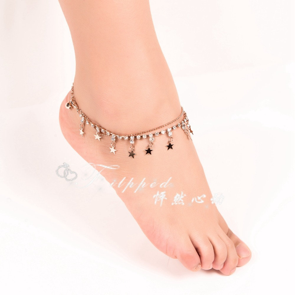 2015 new sexy foot jewelry anklet for woman rose gold ankle ...