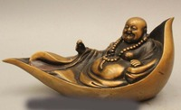 5 Chinese Buddhism Copper Seat Happy Laugh Maitreya Buddha Statue Sculpture
