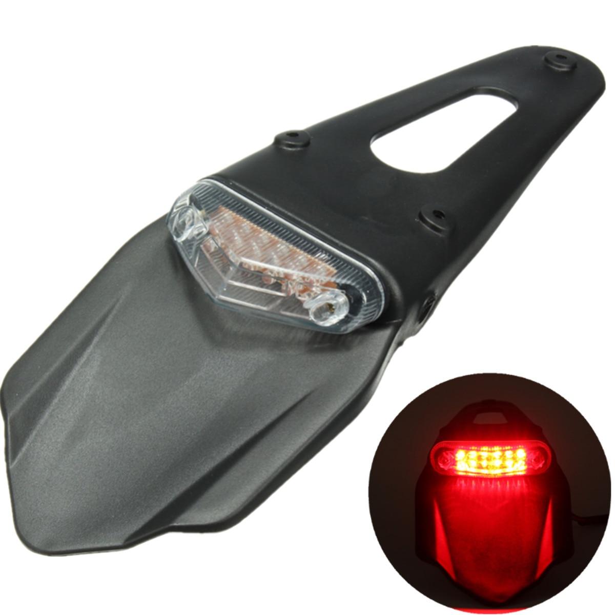 Motorwood Store Universal Motorcycle Fender Light 12 LED Lamp Stop Break Rear Tail Light Back Splash Lamp Red