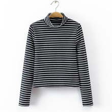 Women Striped High Neck Long Sleeve Crop Tops Shirt In Body Conscious Design