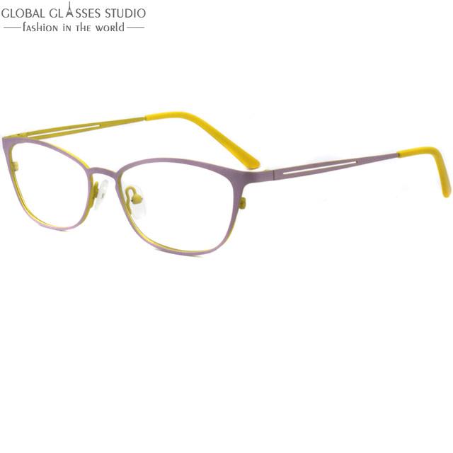 Ultra Ligero Diseño Ergonómico Marco de Los Vidrios de Las Mujeres de Acero Inoxidable de Primavera bisagra Ovalada Lente Superior Rosada en Amarillo Gafas de Grau Z009