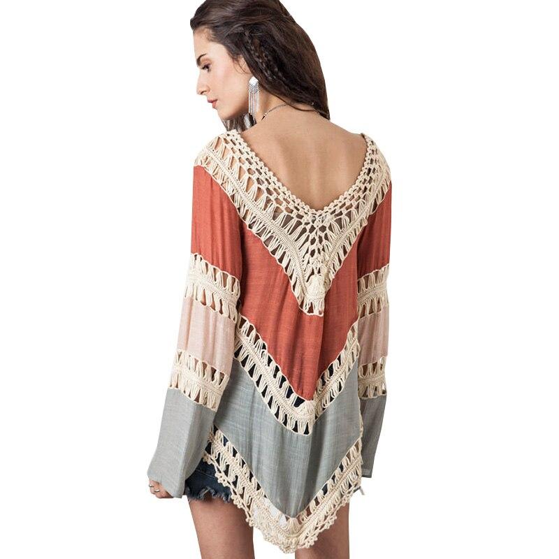 Blusa Hippie Kimono Boho Crochet mujeres Blusas 2017 Blusa femenina ...
