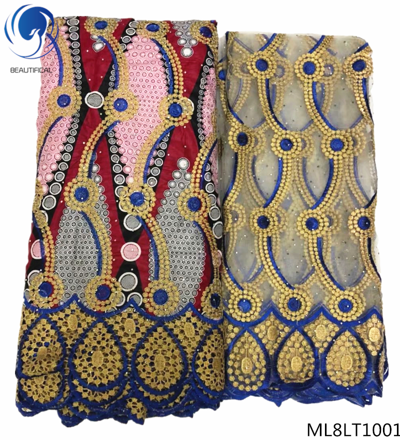 BEAUTIFICAL wax mix lace fabrics african wax fabrics lace dress with beads guipure laces dress for women 8yards/lot ML8LT10BEAUTIFICAL wax mix lace fabrics african wax fabrics lace dress with beads guipure laces dress for women 8yards/lot ML8LT10