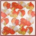 [Lesida] de alta qualidade satin praça do lenço da seda das mulheres impressão primavera deixa novidade famosa bandana xale macio para senhoras 90*90 centímetros 9106