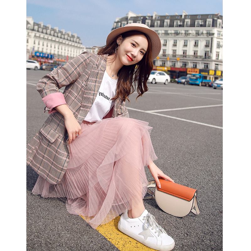 Blazer women Korean casual wild popular plaid small suit ladies jacket 2019 summer new women 39 s clothing in Blazers from Women 39 s Clothing