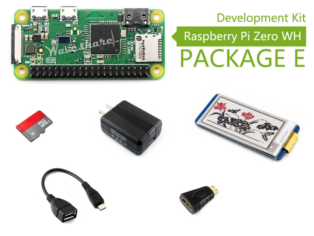 Waveshare Raspberry Pi Zero WH Package E including mini PC Raspberry Pi Zero WH Micro SD Card 2.13inch e-Paper HAT (B) display