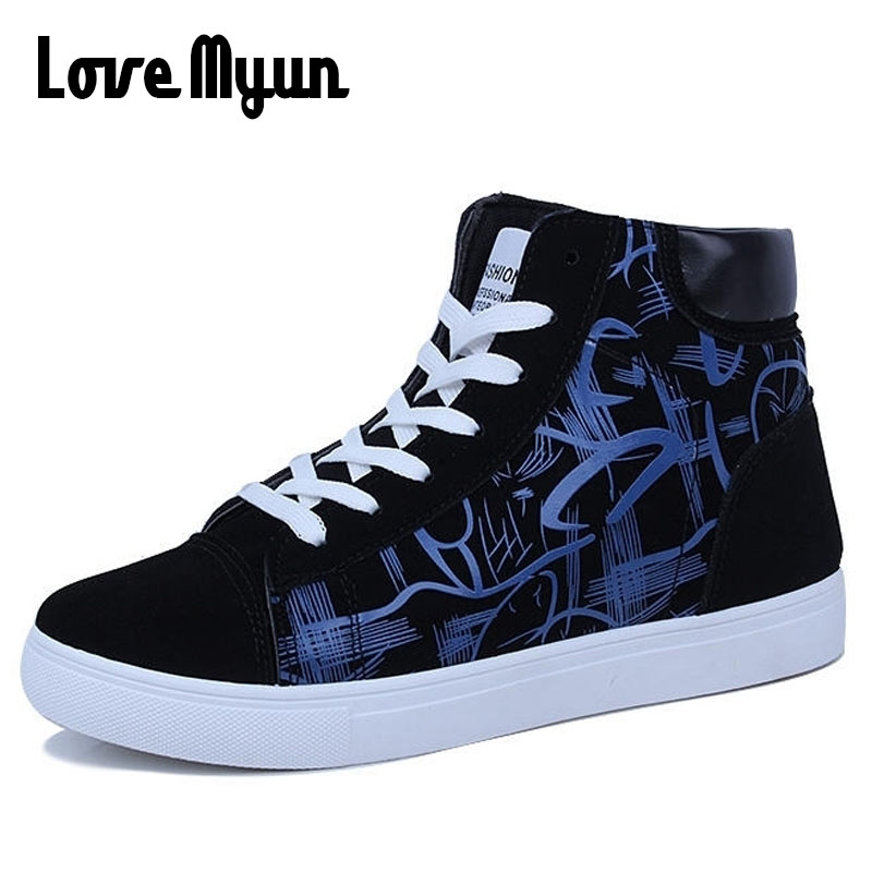 2018 brand new mens high top sneakers for boys Graffiti shoes for Young mens lace up Casual breathable shoes for mens AC-15 25mm mens boys gold