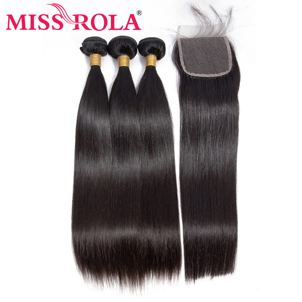 Frøken Rola Pre-coloured Brazilian Hair Straight 100% Human Non-Remy - Menneskehår (sort)