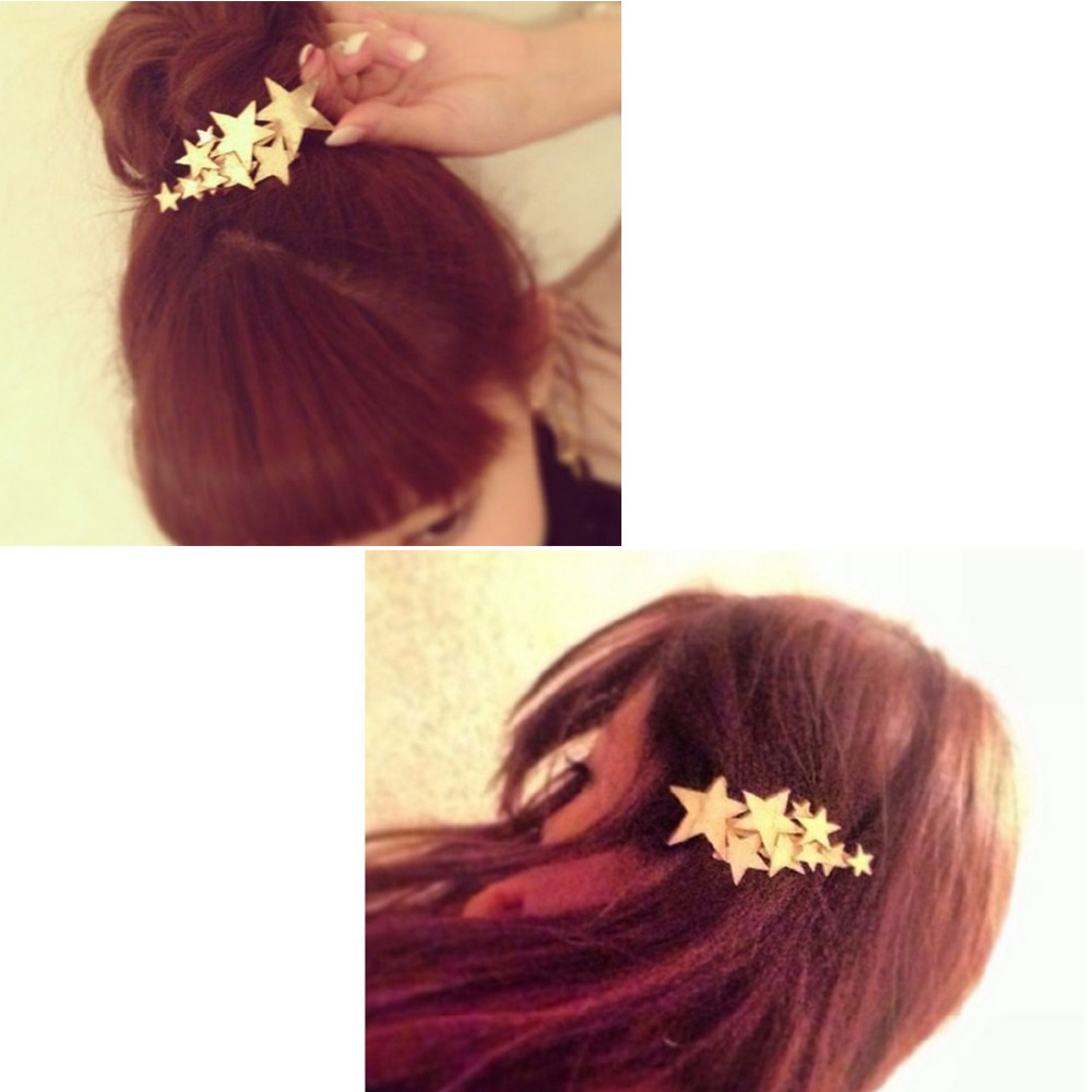 Star Hair Clip Barrettes Hairpin Bobby Pin Jewelry Hair Accessories for Women Lady Girls Gold/ Silver color new arrival ladies barrettes colorful dots cloth hair clips bb hairpin for girls women hair accessories 8pcs lot