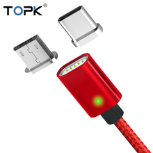 TOPK F-Line Magnetic Micro USB Cable & Type C Data Sync Nylon Braided LED Indicator Magnet Charger