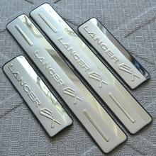 Из нержавеющей стали Боковая дверь Подоконник Порог скребок для 2008-2013 Mitsubishi Lancer стайлинга автомобилей