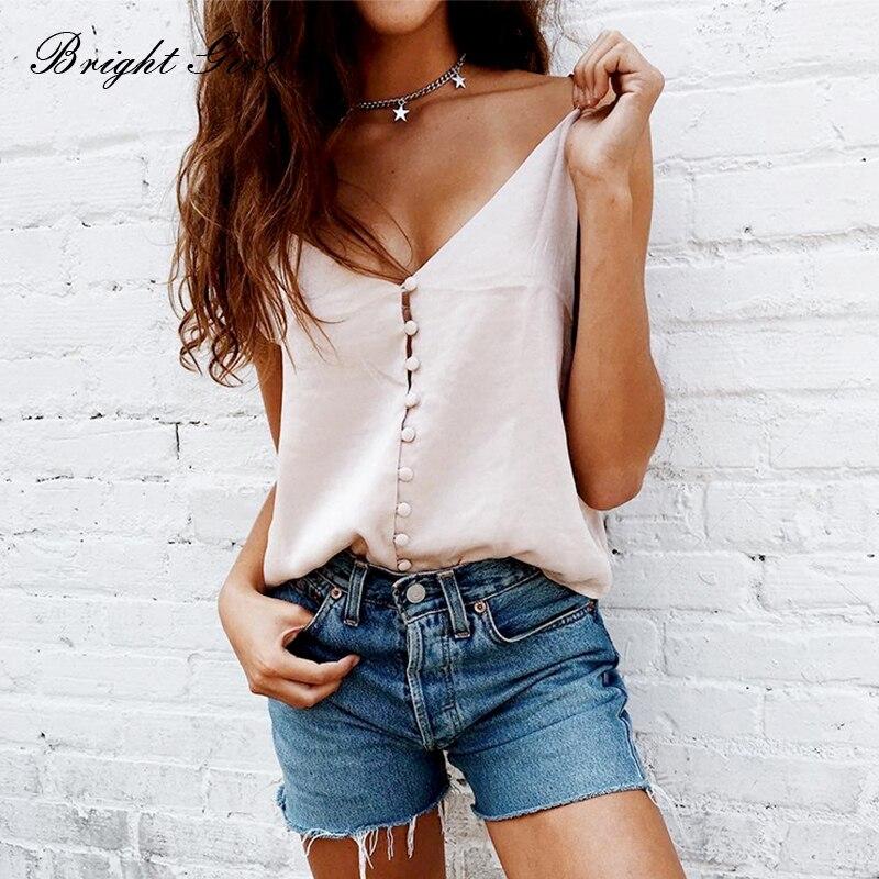 BRIGHT GIRL Women Silk Top Summer Imitation Silk Deep V Neck Camis Tank Tops High Quality Clothes Sleeveless Femme Casual Vest