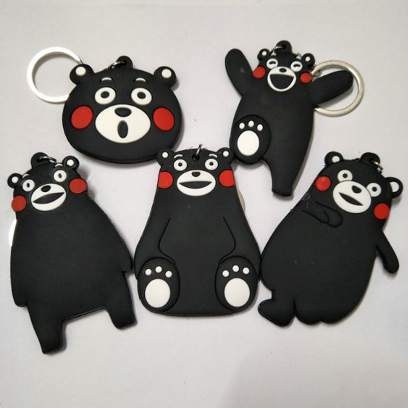 1 Pc New kumamon cosplay Keychain PVC Toy Keyring double-sided Key chain Costume Props C ...